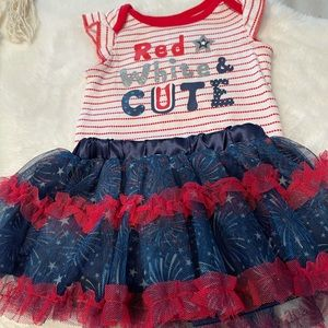 Nanette Baby 0-3 month 4th of July Onsie w/skirt